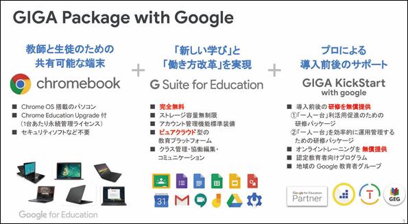 Google では「Google GIGA School Package」の専用ウェブサイト(URL:g.co/edu/giga)を公開し最新情報を発信