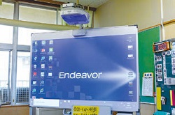 中原小学校で使用している電子黒板。ボードの裏にハードディスクやキーボードが格納されている。