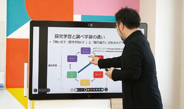 ワークショップの中で「探究学習」と「調べ学習」の違いを解説する藤岡教授